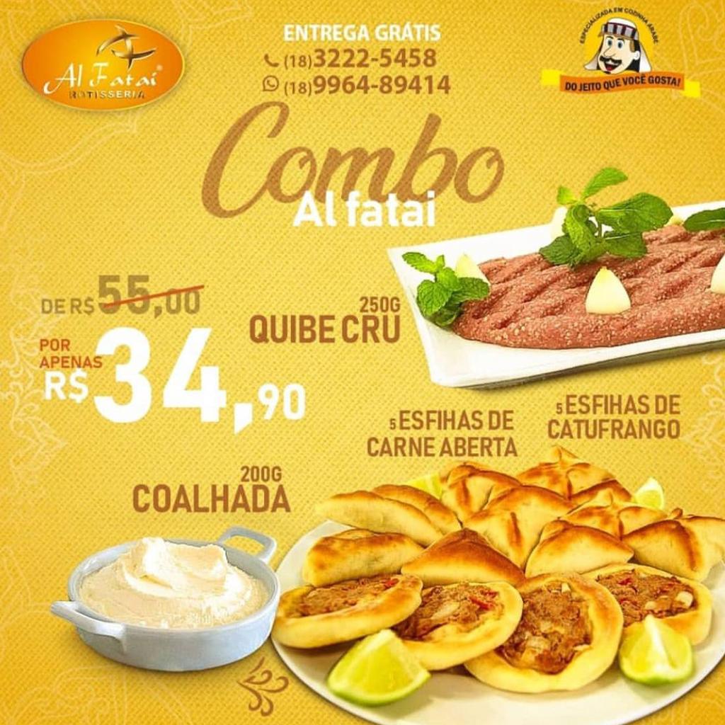 38% off - COMBO COM O SABOR DAS ARABIAS - 5 Esfihas de Carne Aberta + 5 de Catufrango + Kibe Cru + Coalhada - Válido para retirada (contato restrito com o cliente).